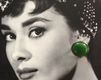 Green & Brass Cabochon Earrings, Vintage Green Earrings, High polish cabochons, Green and Gold Bold Earrings, Statement Earrings