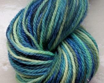 Hand painted merino yarn green sage yellow teal 50g