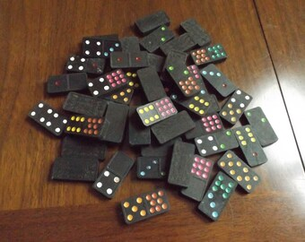 Vintage Wooden Domino Game Pieces Lot 49 Vintage Wooden Dominoes Lot of vintage wooden game pieces Home decor 49 pieces in total.