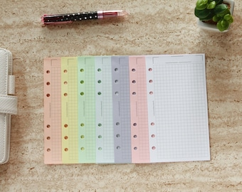 Personal planner, colored paper inserts, Personal sheets squared, refill organizer pastel colours printed