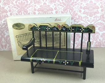 SHACKMAN DEACON'S BENCH, Original Box, 1970's, Black w/Hand Painting, 1:12 Scale, Vintage Dollhouse Furniture