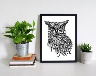 Owl Black & White Owl Art Print- Animal Art, Zentangle, A4 size print, Pen and Ink, Owl Drawing, Wall Art, Owl Print, Owl Illustration