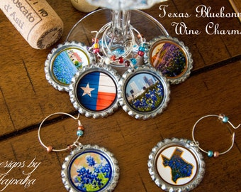 Texas, Wine charms, bluebonnet, foodie gift, party favor, texas bluebonnets, housewarming gift, anniversary gift, birthday, wine