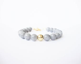 Jade colored grey Dove, Pearl and disc gold plated beaded bracelet