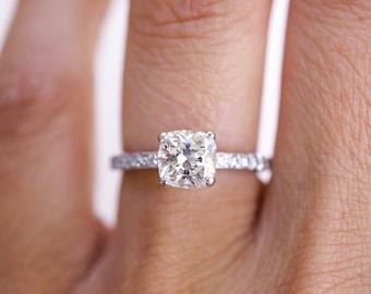 Tiffany & Co. Cushion Diamond Engagement Ring, Cushion Shape Diamond, Tiffany's Novo Collection, Novo Ring, Cushion Engagement Ring