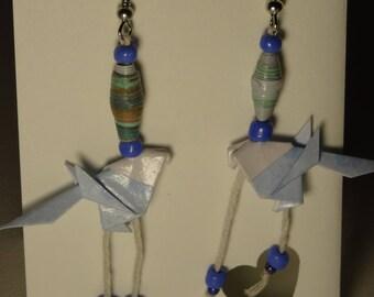 Blue Origami bird earrings