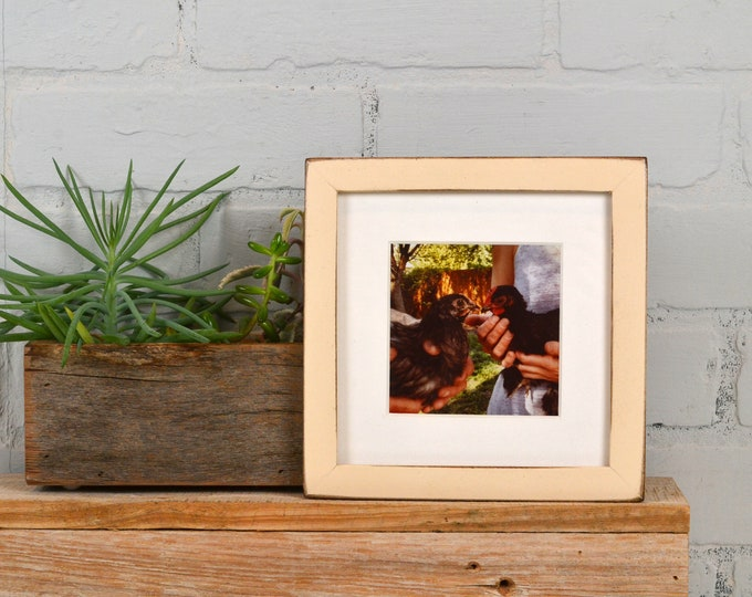 """6x6"""" Picture Frame in PeeWee Style with Vintage Ivory Finish - IN STOCK - Same Day Shipping - Gallery Frame 6 x 6 Off White"""