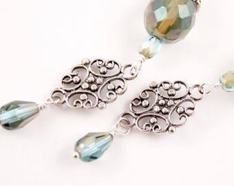 Teal Green Earrings, Czech Glass, Filigree, Sterling Silver