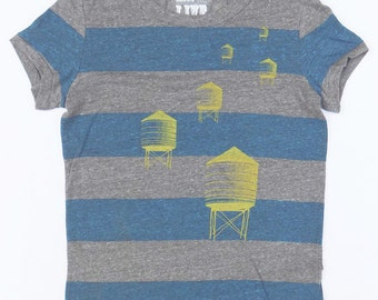 Water Towers T-Shirt, Women's Blue and Grey Striped