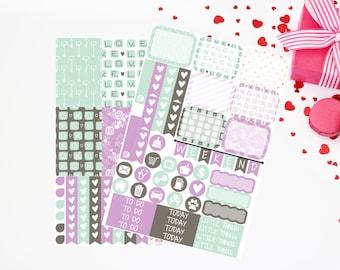 Purple Love Letters-Happy (MAMBI) Planner Sampler Kit (NF428) High Gloss, Semi-Gloss, Matte Planner Stickers