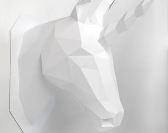 Unicorn head, Animal Head, low poly, DIY, trophy, Papermodel