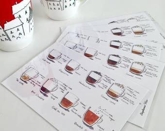 Handmade Postcards Crafted by Stephanie Heo. A postcard made by Toronto artist Canadian artist. A gift idea for coffee lover