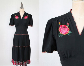 RESERVED 1930s Dress / HAND PAINTED Roses Dress / M