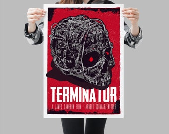 Terminator poster movie print. Scifi geek wallart. Available in different sizes. Check the drop-down menu for your choice