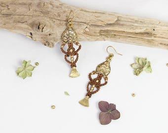 oriental macrame earrings~ micro macramé ~ alternative and handmade jewelry