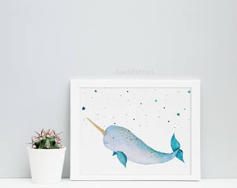 Narwhal constellation print - Boys nursery decor - Ocean creatures poster  - Baby boy nursery wall art - Printable sea art - Narwhal art