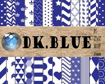 Digital Papers - Dark Blue Patterns