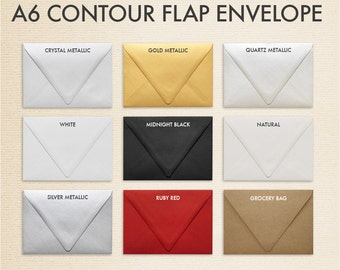 A6 Contour Flap Envelopes (4 3/4 x 6 1/2) - Pick A Color (50 Qty.)
