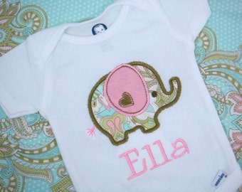 Personalized Baby Girl bodysuit - Elephant Baby Girl bodysuit - Baby Girl bodysuit or Baby Boy bodysuit
