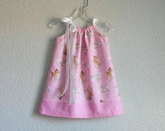 Bambi Dress! Little Girls Pink Pillowcase Dress with Bambi and Thumper - Girls Pink Woodland Sun Dress - Size 12m, 18m, 2T, 3T, 4T, 5 or 6