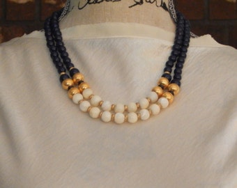 Vintage 1928 Necklace Navy Blue White Gold Tone Bead Necklace Signed 1928