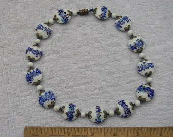 Vintage Oriental? GLASS Disk BEAD NECKLACE-Blue & Gold Flecked White Beads-17.25 Inch-Screw Clasp