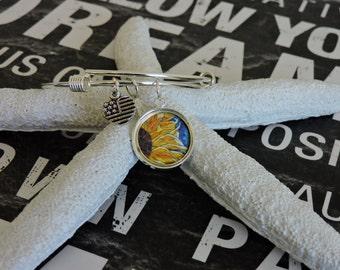 Charm Bracelet, Adjustable Bangle, Sunflower Charm, Bangle Bracelet, Silver Charm, Stackable, Dangle Charm Bracelet, Sunflower Bracelet
