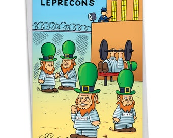 C5207SPG Leprecons: Humorous St. Patrick's Day Card, with Envelope.