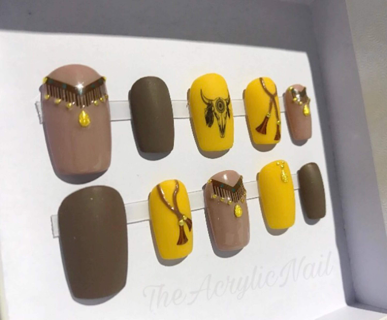 Matte Cowgirl Tassel Longhorn Western Brown Mustard Fringe Nails ...
