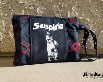 Suspiria Horror Movie Pouch Skull Wristlet Cosmetic Makeup Bag Clutch Witch Occult Satanic Wicca Halloween Goth Accessories Horror Merch
