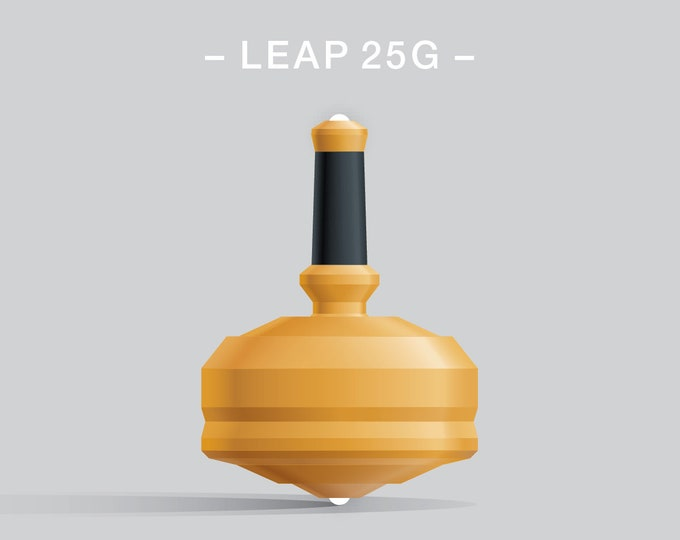 Leap 25G Yellow – Spin top with dual ceramic tip and rubber grip