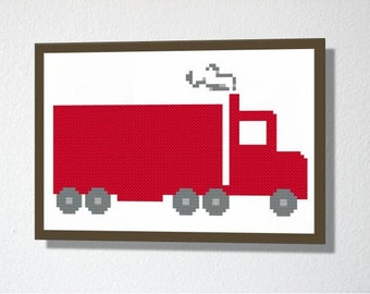 Counted Cross stitch Pattern PDF. Instant download. Semi Trailer. Includes easy beginners instructions.