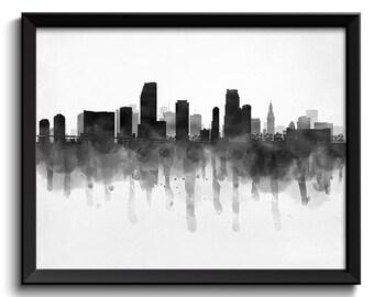 Miami Skyline Florida USA United States Cityscape Art Print Poster Black White Grey Watercolor Painting