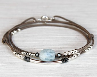cord multi row aquamarine and 925 sterling silver Bangle Bracelet