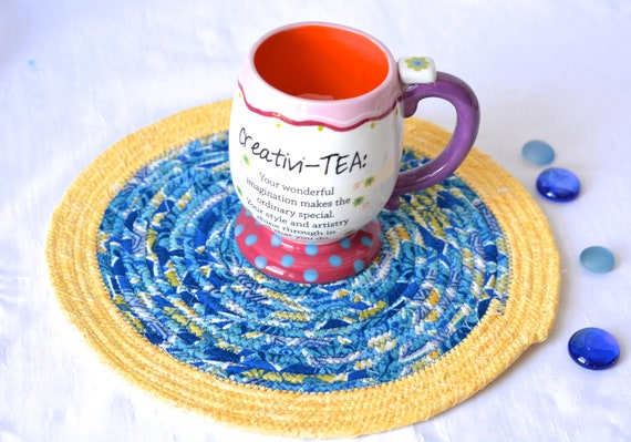 "Summer Place Mat, 11"" Handmade Yellow and Blue Trivet, 11"" Quilted Rope Trivet, Hot pad, Hostess Gift,  Coiled Potholder"