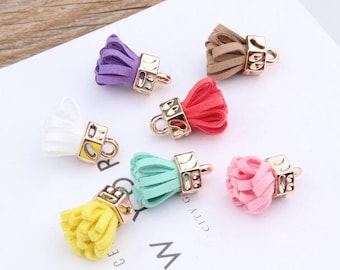 Tassel Charm, 10PCS, 25*20MM, Small Tassel, Jewelry Suppplies, Yellow, White, Pink, Black, Blue, Red, Rose, Coffee
