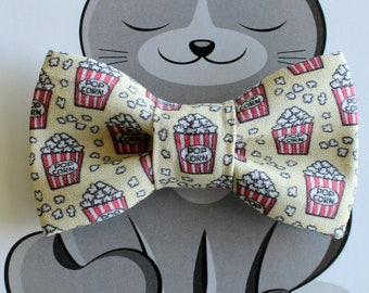 Pet Bow Tie, Popcorn, Cat Bowtie, Dog Clothing, Slide on Collar Accessory, Collar NOT included, Handmade, Snacks, Food, Yellow