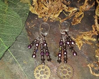 Steampunk beaded earrings