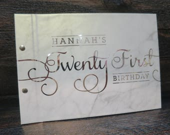 21st Flourish Silver Foil on Marble | Custom Made Guestbook | Personalised Guestbook | Birthdays | Parties | Australia Seller