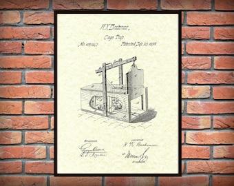 Patent 1870 Mouse Trap Cage Trap Exterminator Wall Art - Poster Print - Wall Art - Rodent Trap - Varmint Trap - Rat Trap