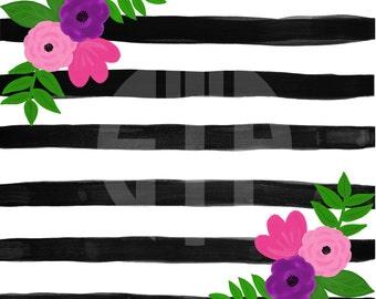 Black Stripes and Florals (Instant Download)