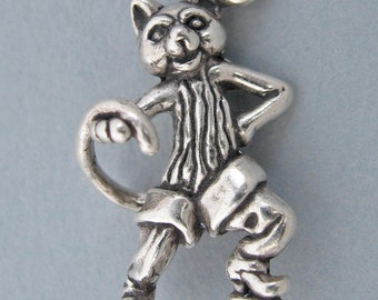 Sterling Silver 925 Charm Pendant 3d PUSS In BOOTS CAT Kitty 3170