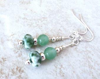 Adventurine Earrings/ Moss Agate Earrings/Sterling Silver Earrings/Green Gemstone Dangle Earrings/Boho Earrings/Silver Czech Glass Beads