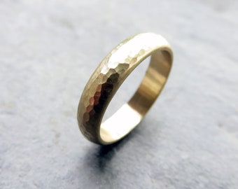 4mm Wide Hammered Domed Wedding Band, Rustic Half Round Wedding Ring in 14k Yellow or Rose Gold, Classic Wedding Band, Matte or Polished