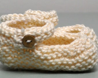 Hand Knit Baby-Jane Booties - Newborn