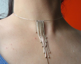 Vintage metal choker - Silver Metal - Necklace - Long Strings - Statement Choker - Silver Wire - Fashion Jewelry