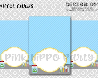 Science Chemistry Scientist Experiment Join Party:Design #001-Printable Buffet Labels, Food Labels, Tenet Cards, Birthday Party, Decor