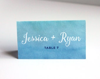 Watercolor Wedding Place Card or Escort Cards - Tent or Flat Cards - 6 Color Choices - Digital Printable