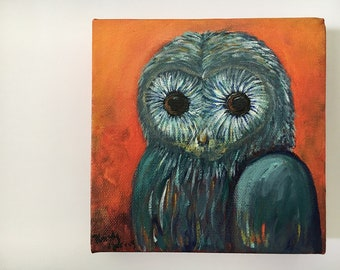 Whimsical Paintings on Canvas, Whimsical Owl Art Original Painting, Animal Art, Acrylic on Canvas, Owl Lover, OOAK Painting, 6x6 Canvas