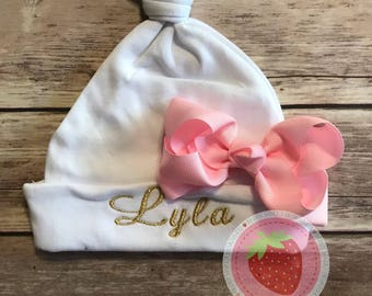 Personalized Embroidered & embellished baby hat